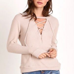 LNA Lace Up Waffle Knit Sweater in Sand Size XS